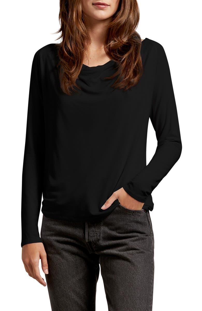 MICHAEL STARS Ellen Luxe Jersey Drape Tee, Main, color, 001