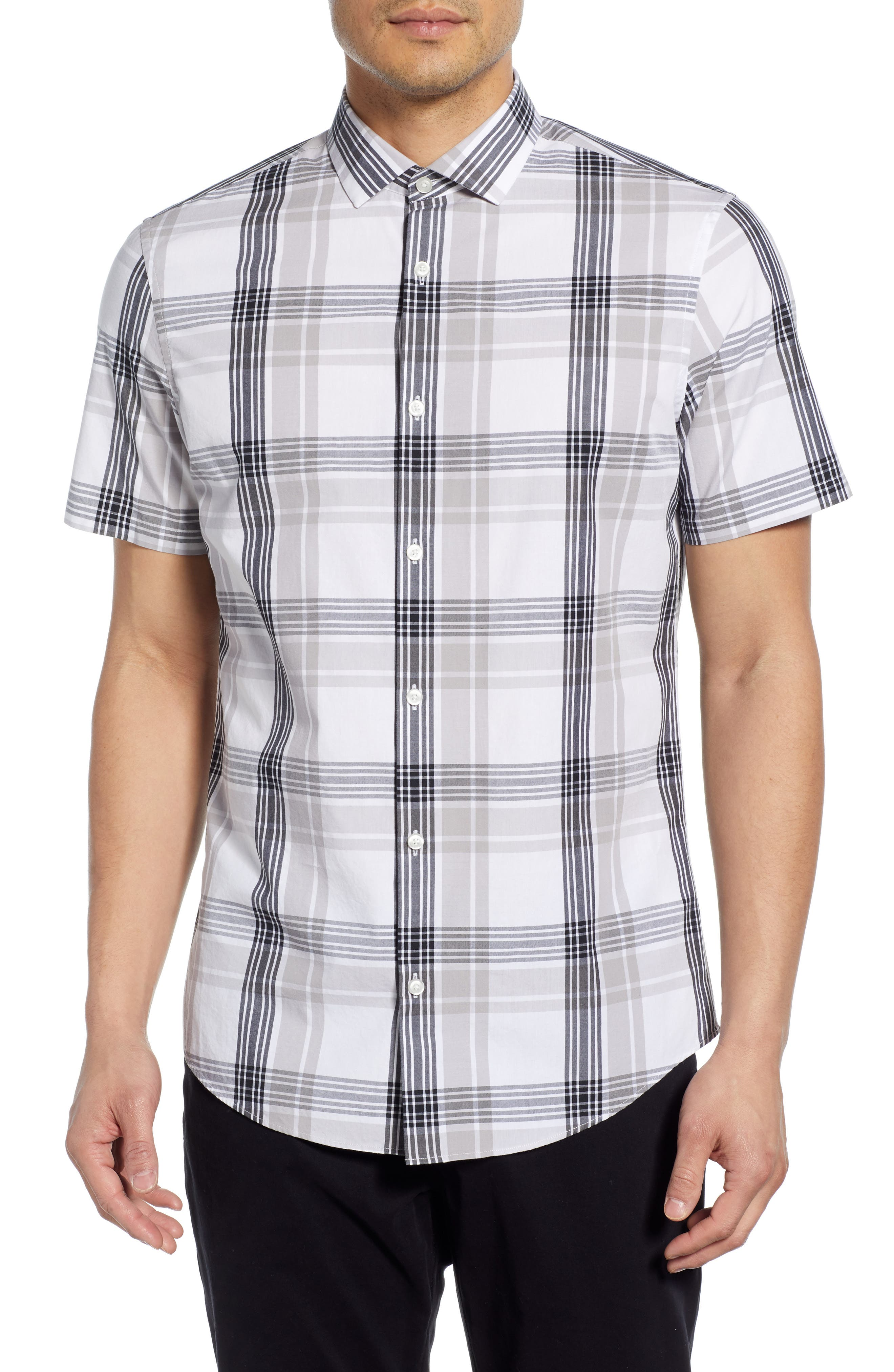 Calibrate Plaid Short Sleeve Button-Up Sport Shirt, White