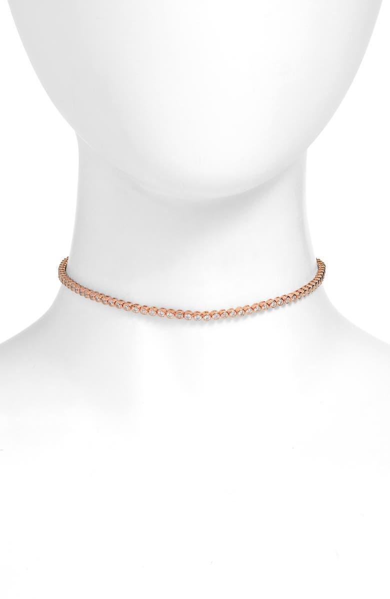 ADINA'S JEWELS Adina's Jewels Bezel Choker Necklace, Main, color, ROSE GOLD