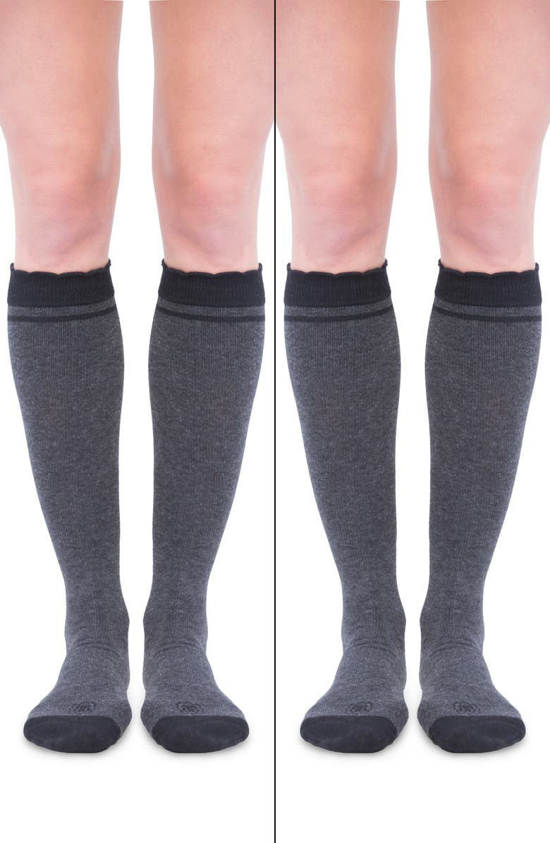 BELLY BANDIT<SUP>®</SUP> 2-Pack Compression Socks, Main, color, CHARCOAL