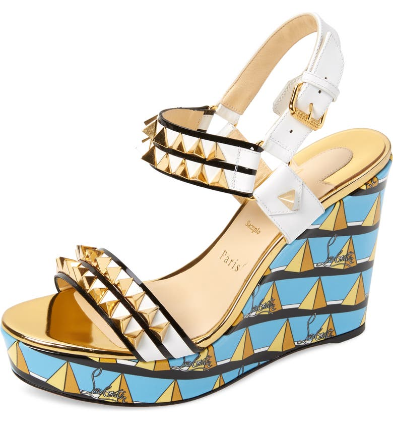 CHRISTIAN LOUBOUTIN Griotta Wedge Sandal, Main, color, TURQUOISE/ WHITE