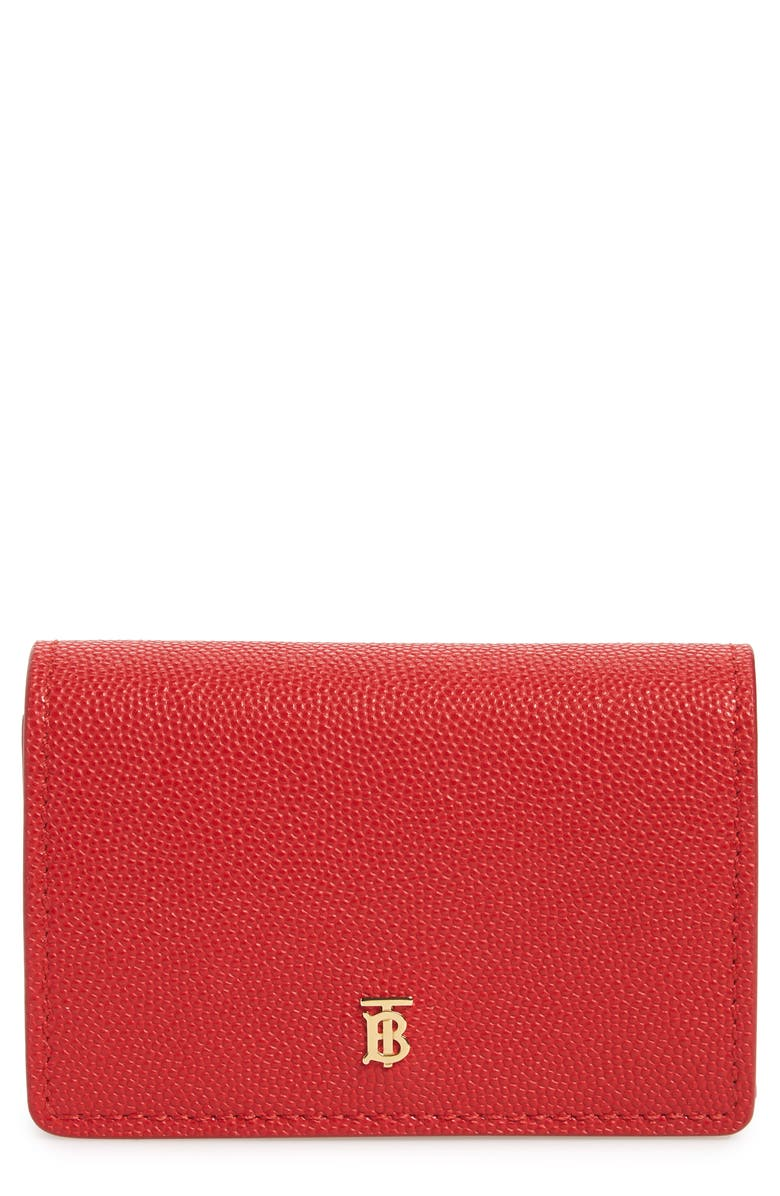 BURBERRY Jessie TB Monogram Leather Card Case, Main, color, BRIGHT RED