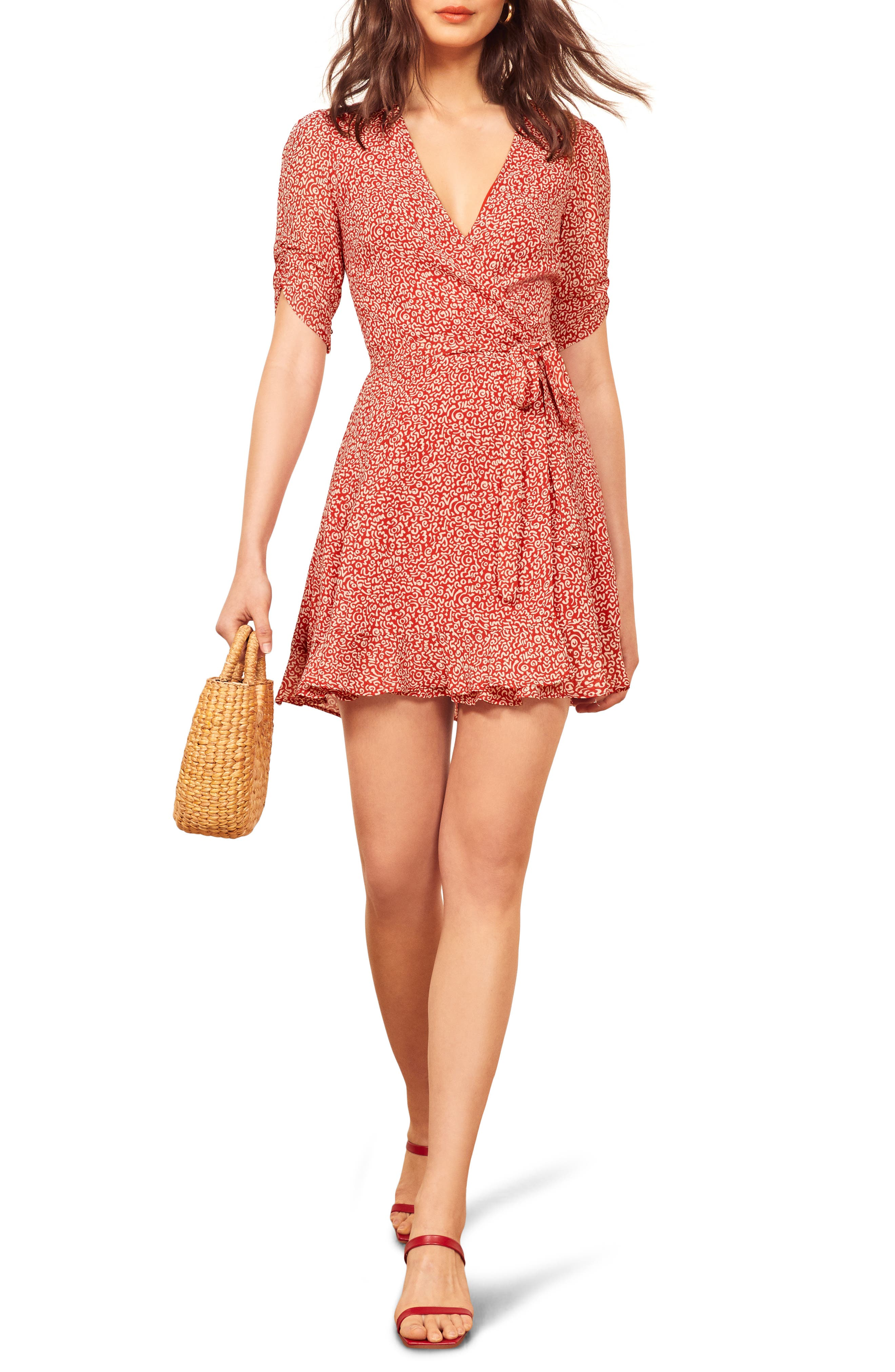 Reformation Monica Wrap Dress, Red