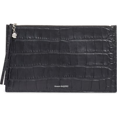 Alexander Mcqueen Croc Embossed Leather Pouch - Black