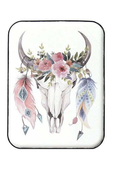 Image of Stratton Home Multi Boho Cow Skull Wall Art