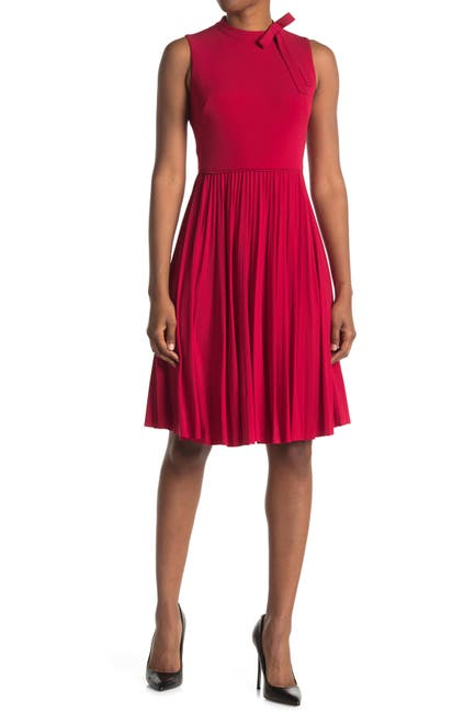 Image of Maggy London Bow Neck Sleeveless Pleated Fit & Flare Dress