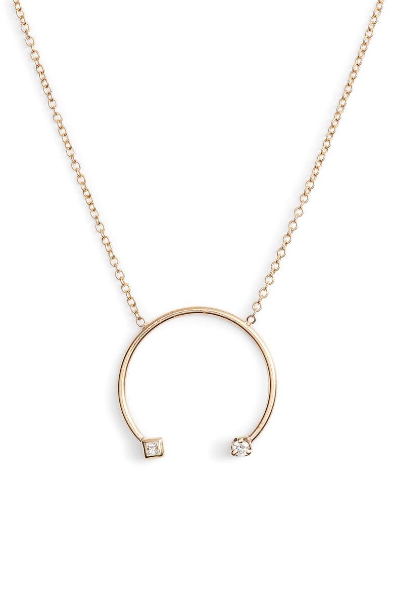 ZOË CHICCO Diamond Open Circle Pendant Necklace, Main, color, GOLD