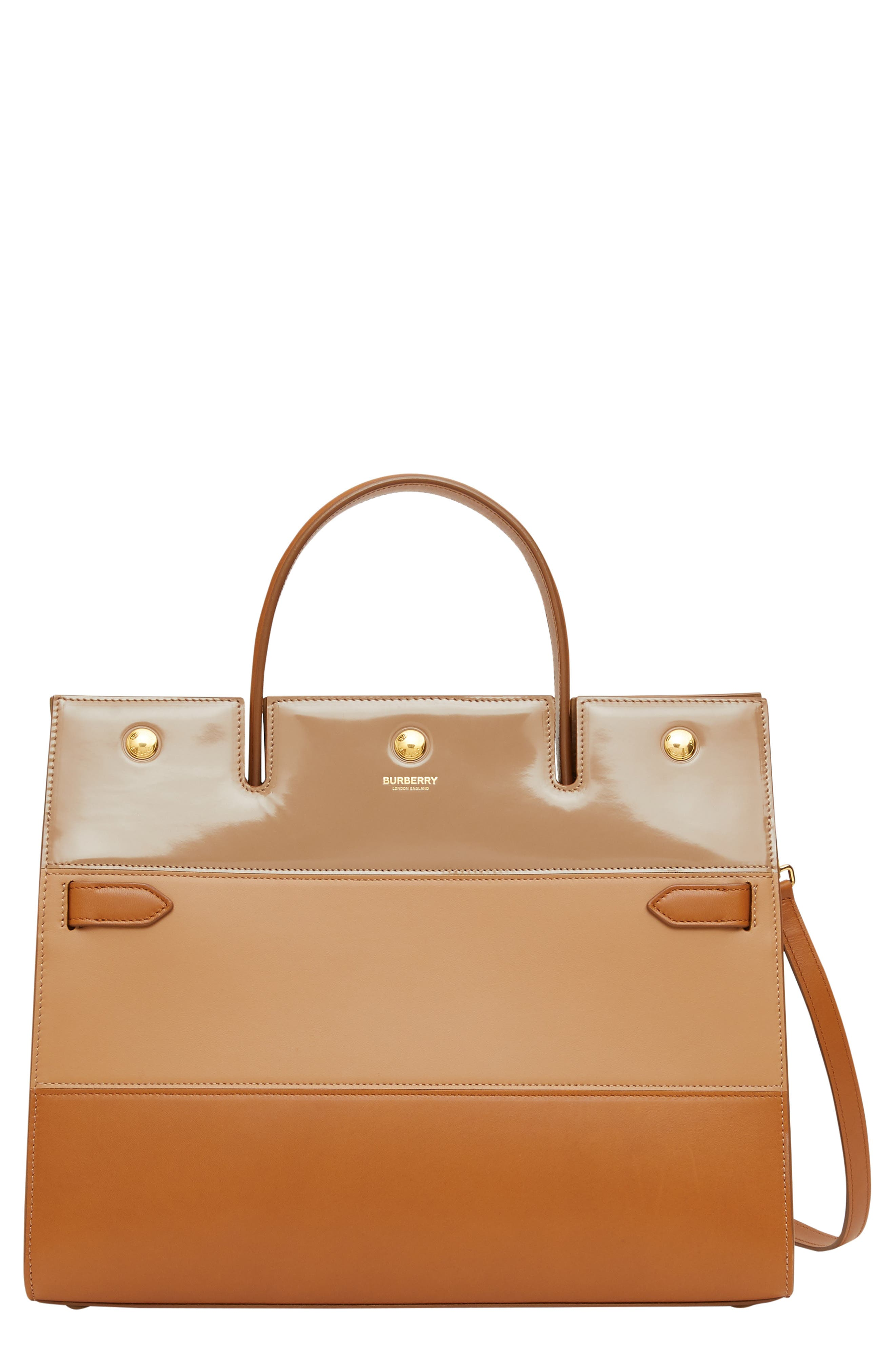 Burberry Totes Medium Title Colorblock Leather Top Handle Tote