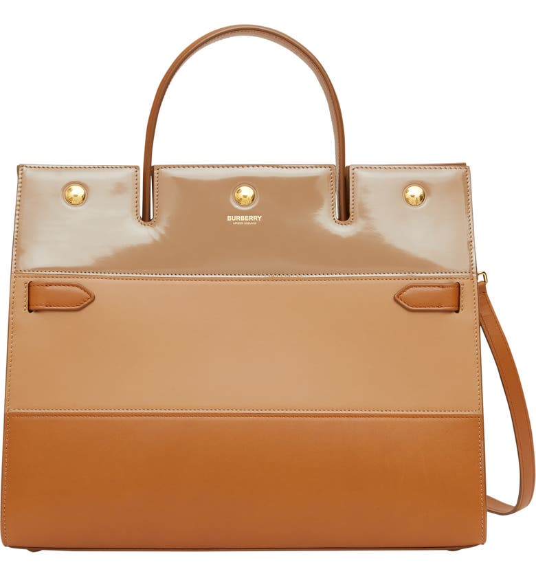 BURBERRY Medium Title Colorblock Leather Top Handle Tote, Main, color, SOFT FAWN