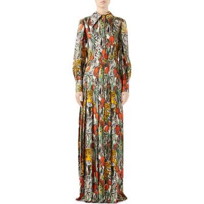 Gucci Feline Garden Print Long Sleeve Silk Dress, US / 44 IT - Beige