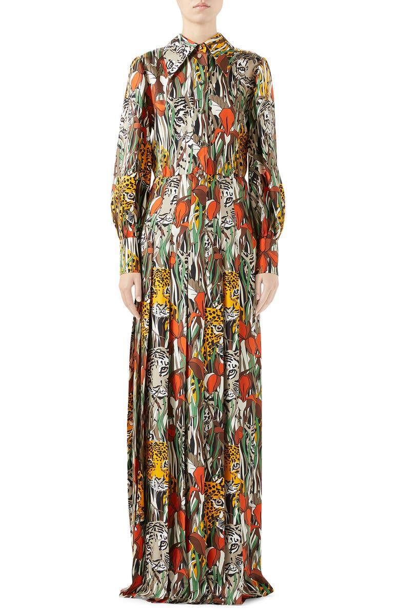 GUCCI Feline Garden Print Long Sleeve Silk Dress, Main, color, BEIGE/ DARK ORANGE PRINT
