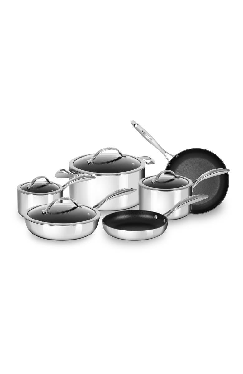 SCANPAN HaptIQ 10-Piece Stainless Steel Nonstick Cookware Set, Main, color, SILVER
