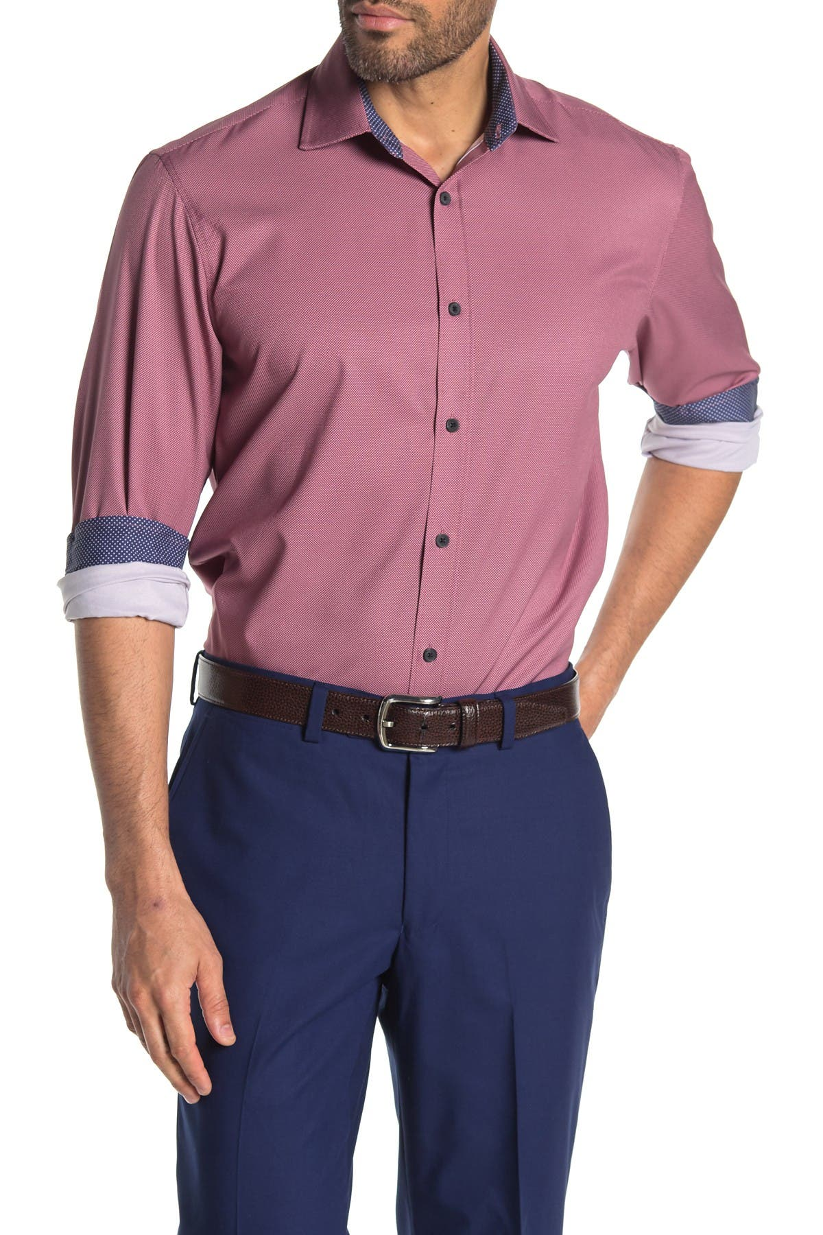 Image of CONSTRUCT Solid Long Sleeve 4-Way Stretch Slim Fit Shirt