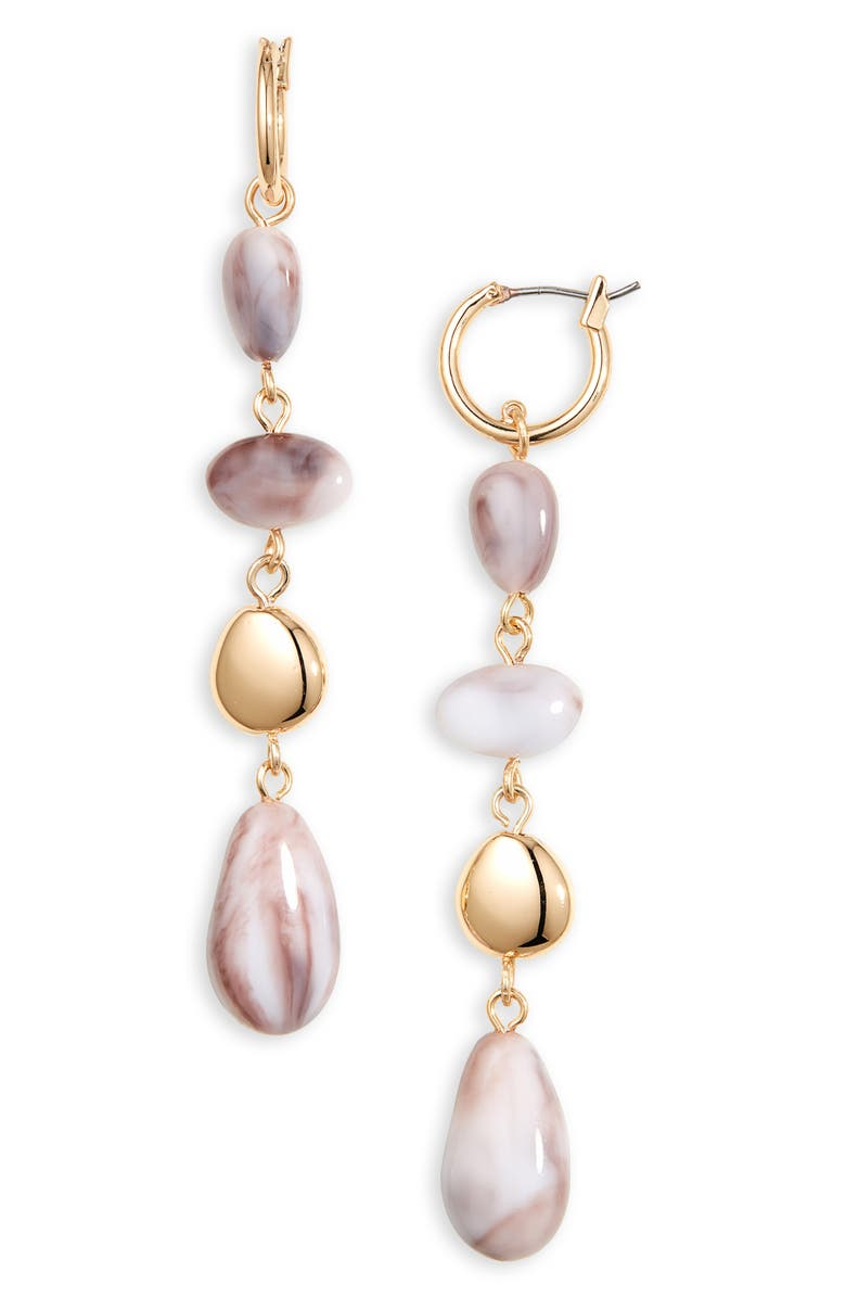 HALOGEN<SUP>®</SUP> Droplet Linear Earrings, Main, color, GREY- GOLD