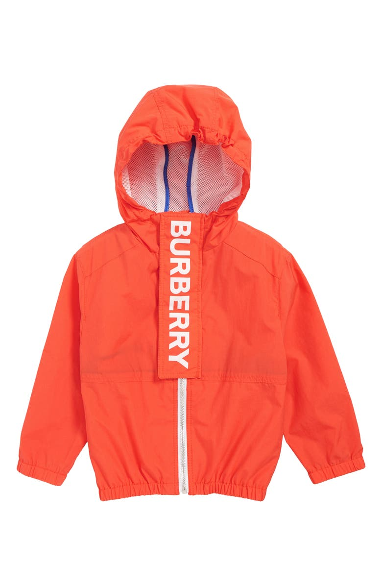 BURBERRY Austin Logo Hooded Jacket, Main, color, ORANGE RED