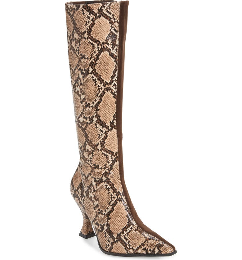 JEFFREY CAMPBELL Corrode Boot, Main, color, BEIGE BLACK SNAKE/ BROWN SUEDE