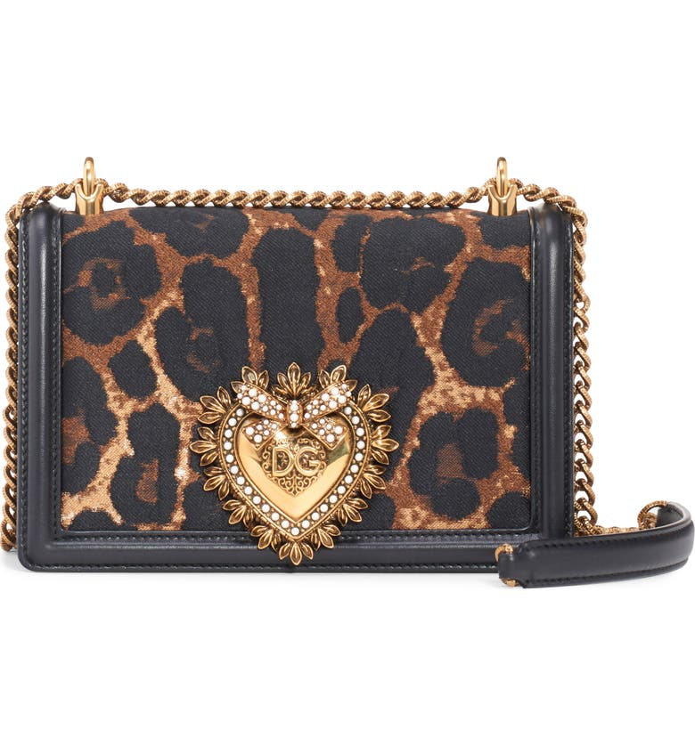 DOLCE&GABBANA Devotion Genuine Calf Hair & Leather Crossbody Bag, Main, color, LEO