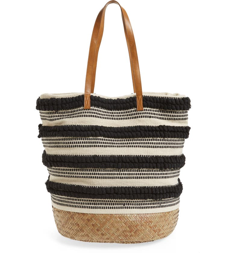 SOLE SOCIETY Woven Bottom Tote, Main, color, 001