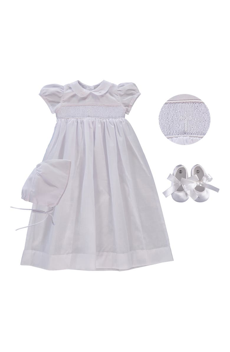 CARRIAGE BOUTIQUE Smocked Inset Christening Gown, Bonnet & Booties Set, Main, color, WHITE