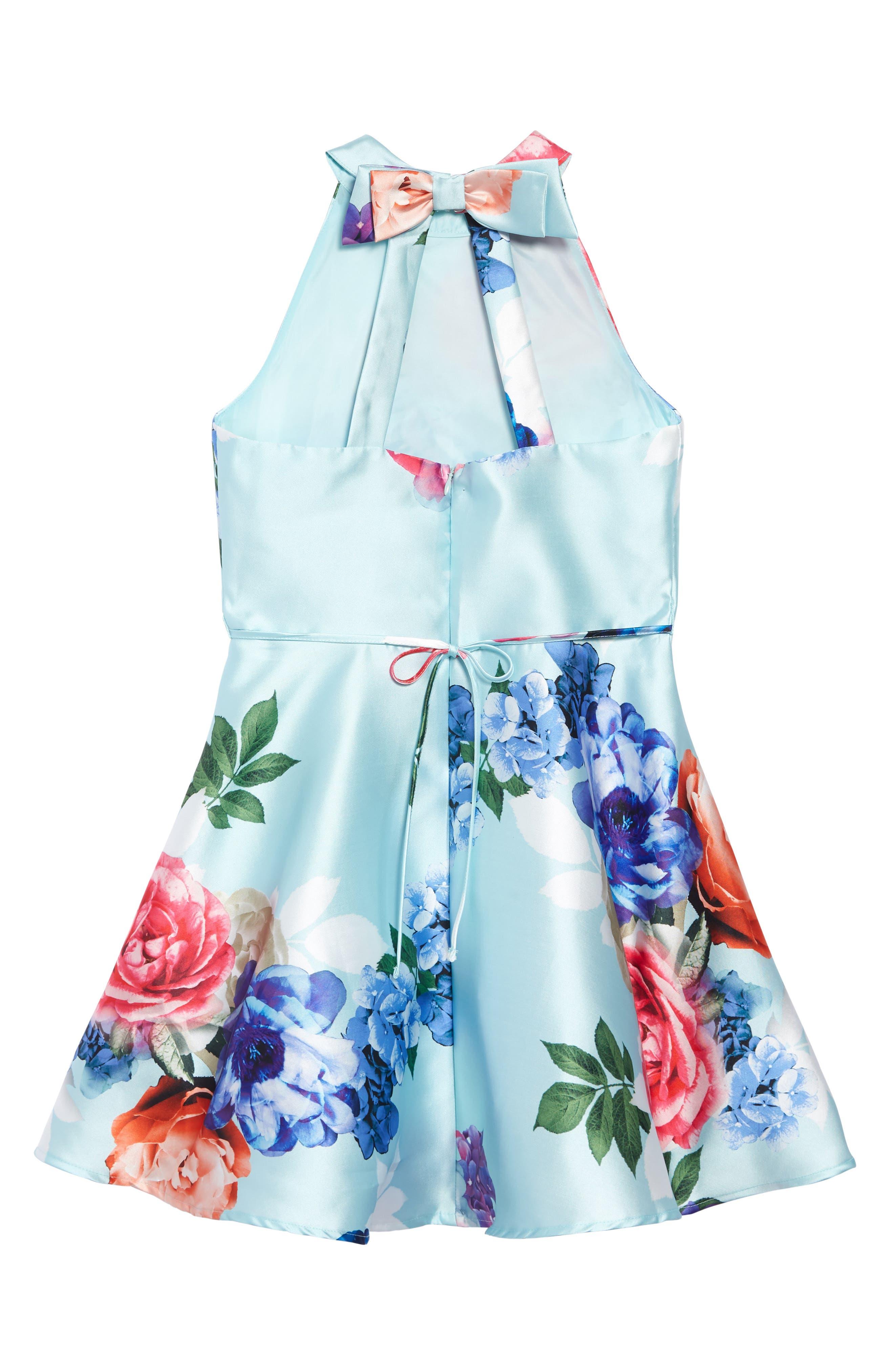 ,                             Floral Mikado Fit & Flare Dress,                             Alternate thumbnail 2, color,                             LIGHT BLUE