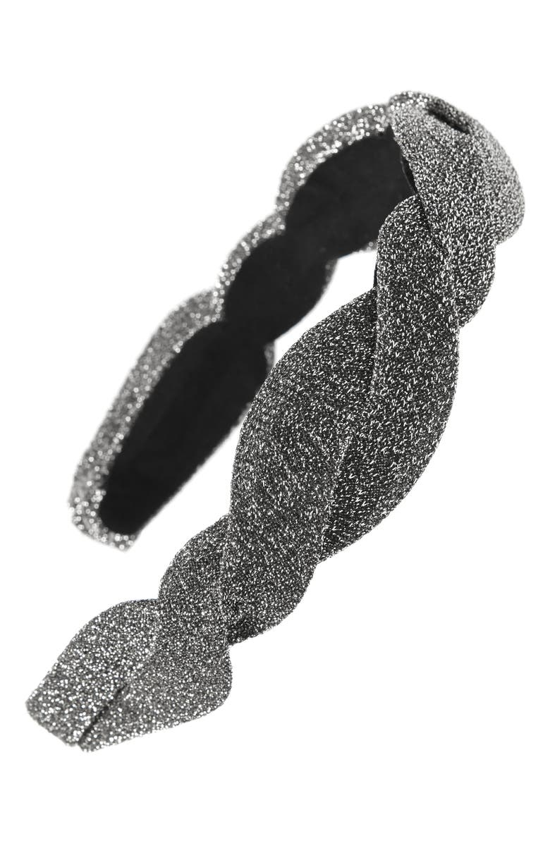 TASHA Sparkle Twist Headband, Main, color, SILVER