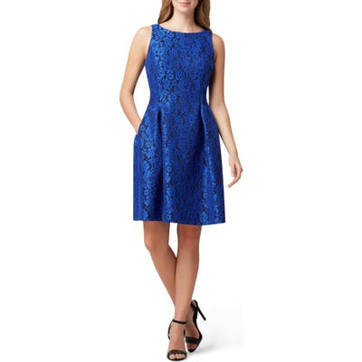 Tahari Sleeveless Scuba Lace Fit & Flare Dress, Blue