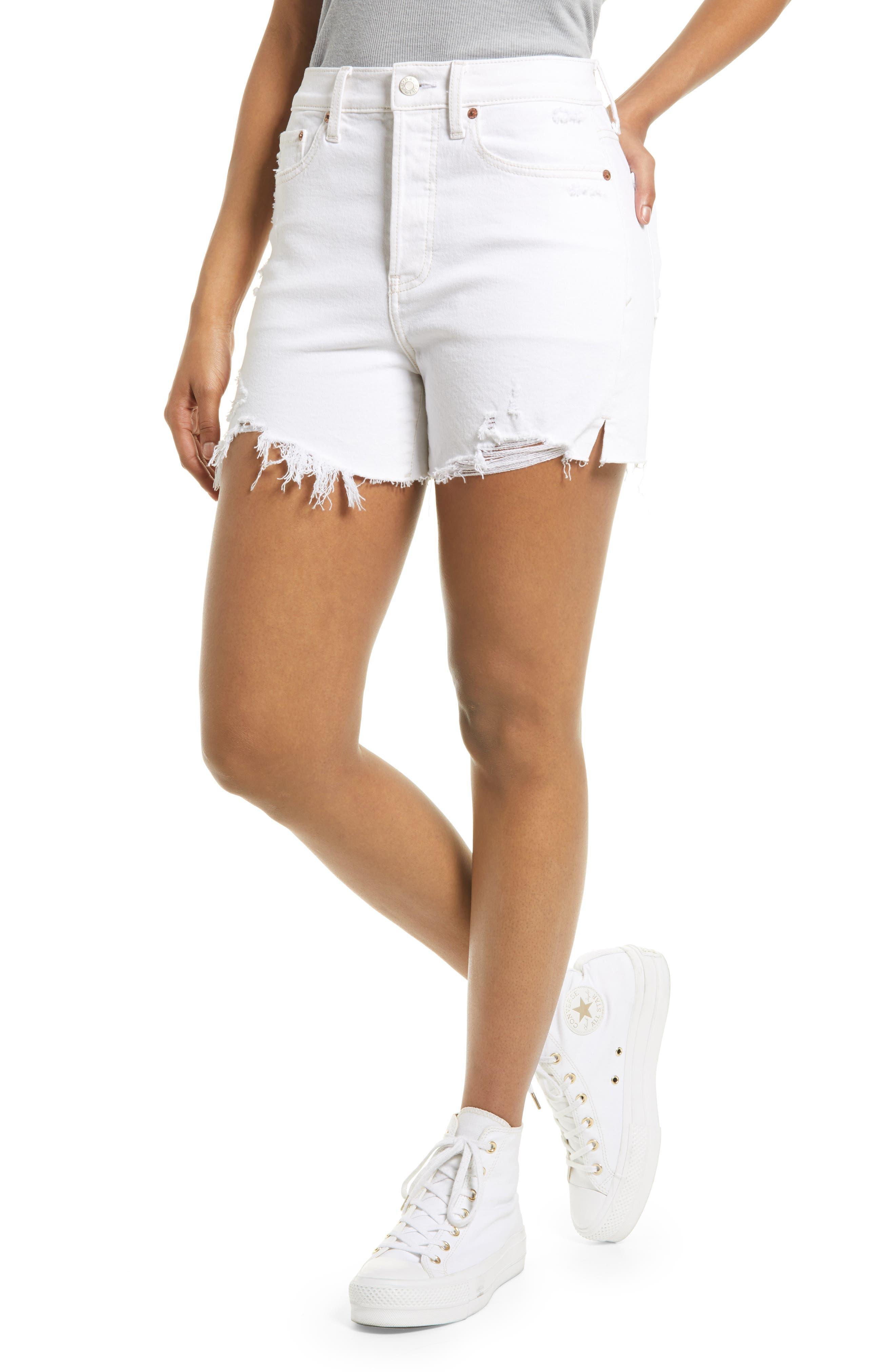 Bottom Line High Waist Distressed Denim Shorts