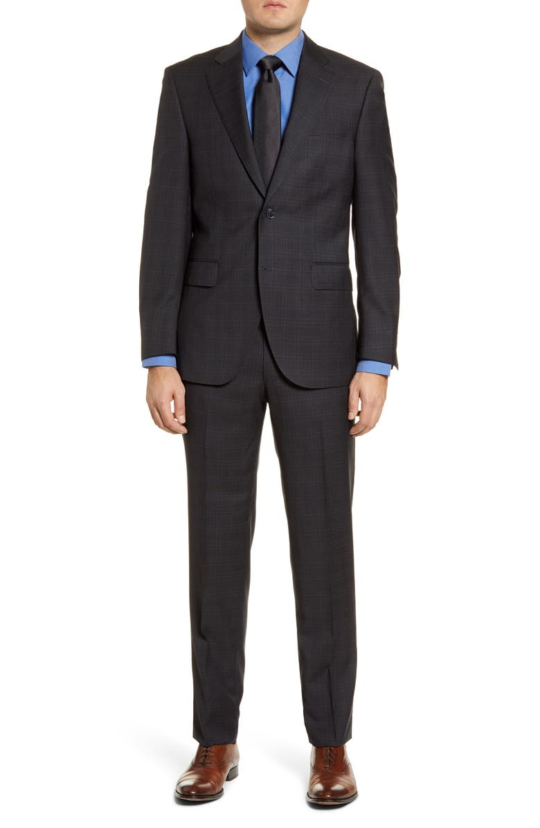 PETER MILLAR Classic Fit Plaid Wool Suit, Main, color, CHARCOAL