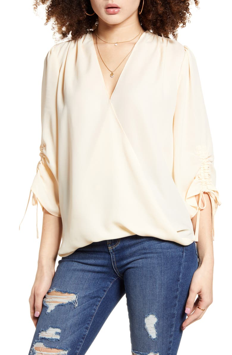 BAND OF GYPSIES Parma Ruched Sleeve Top, Main, color, CREAM