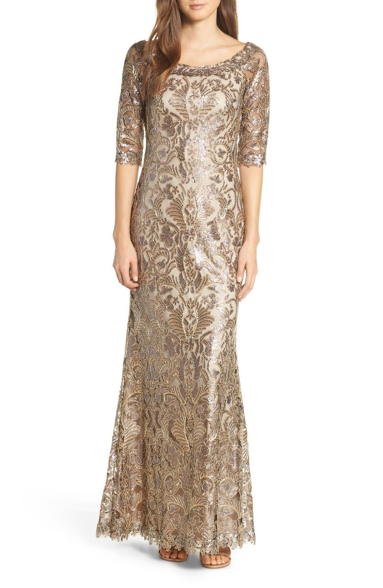 TADASHI SHOJI Embroidered Sequin Trumpet Gown, Main, color, 220