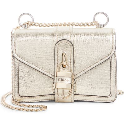 Chloe Aby Mini Metallic Leather Shoulder Bag - Metallic