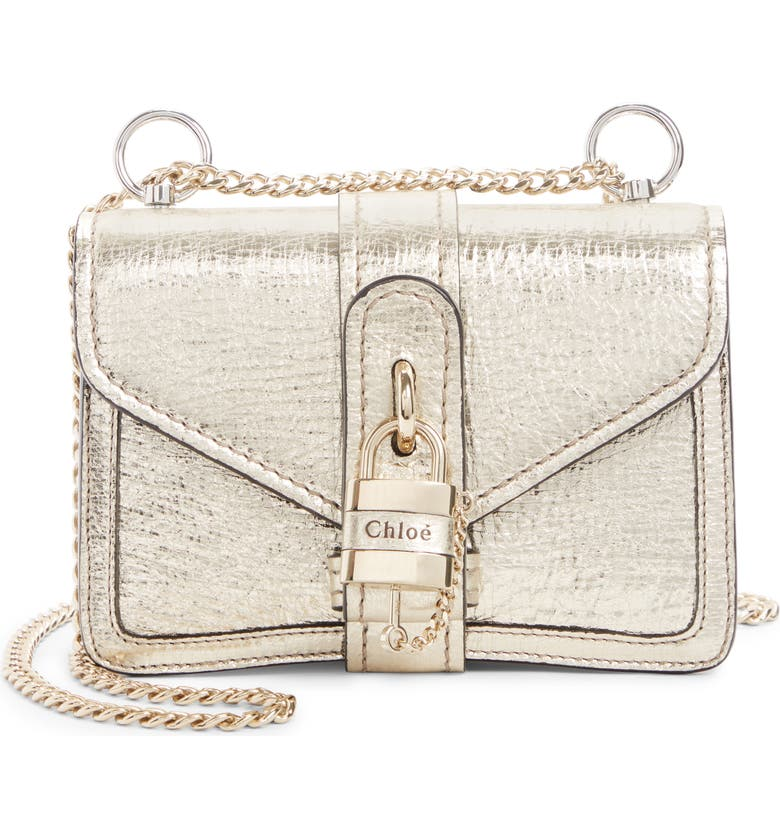 CHLOÉ Aby Mini Metallic Leather Shoulder Bag, Main, color, GOLD