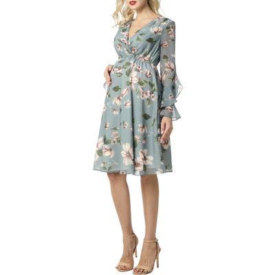 Kimi And Kai Floral Print Long Sleeve Chiffon Maternity Dress, None