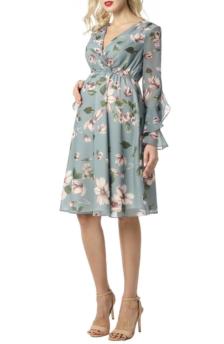 KIMI AND KAI Floral Print Long Sleeve Chiffon Maternity Dress, Main, color, MULTICOLORED