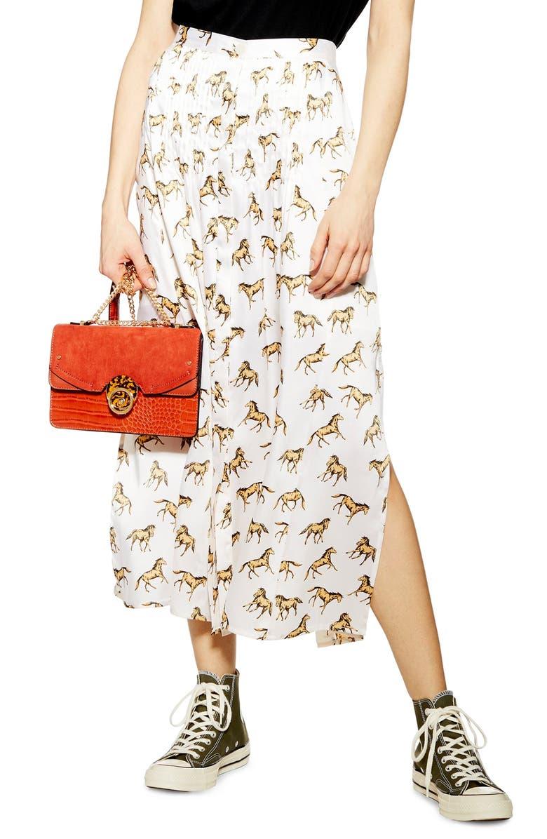 TOPSHOP Western Horse Print Midi Skirt, Main, color, WHITE MULTI