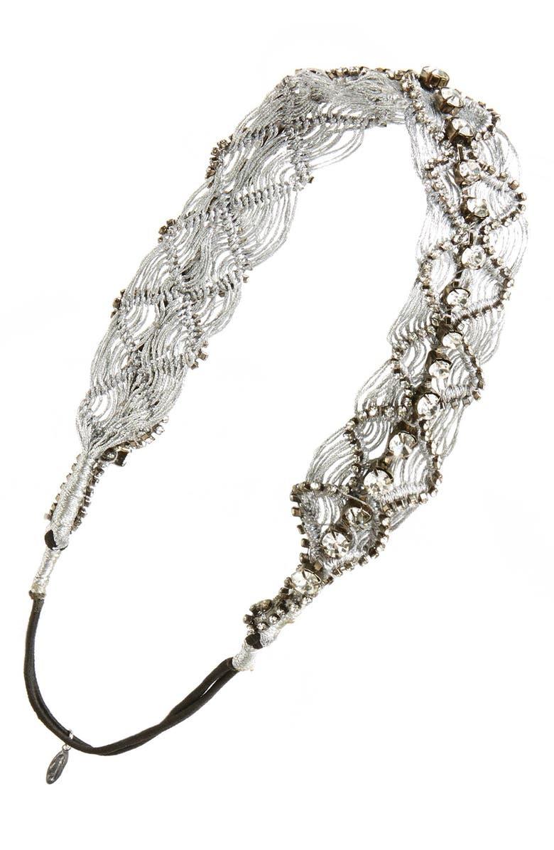 TASHA 'Woven Wonder' Head Wrap, Main, color, Silver