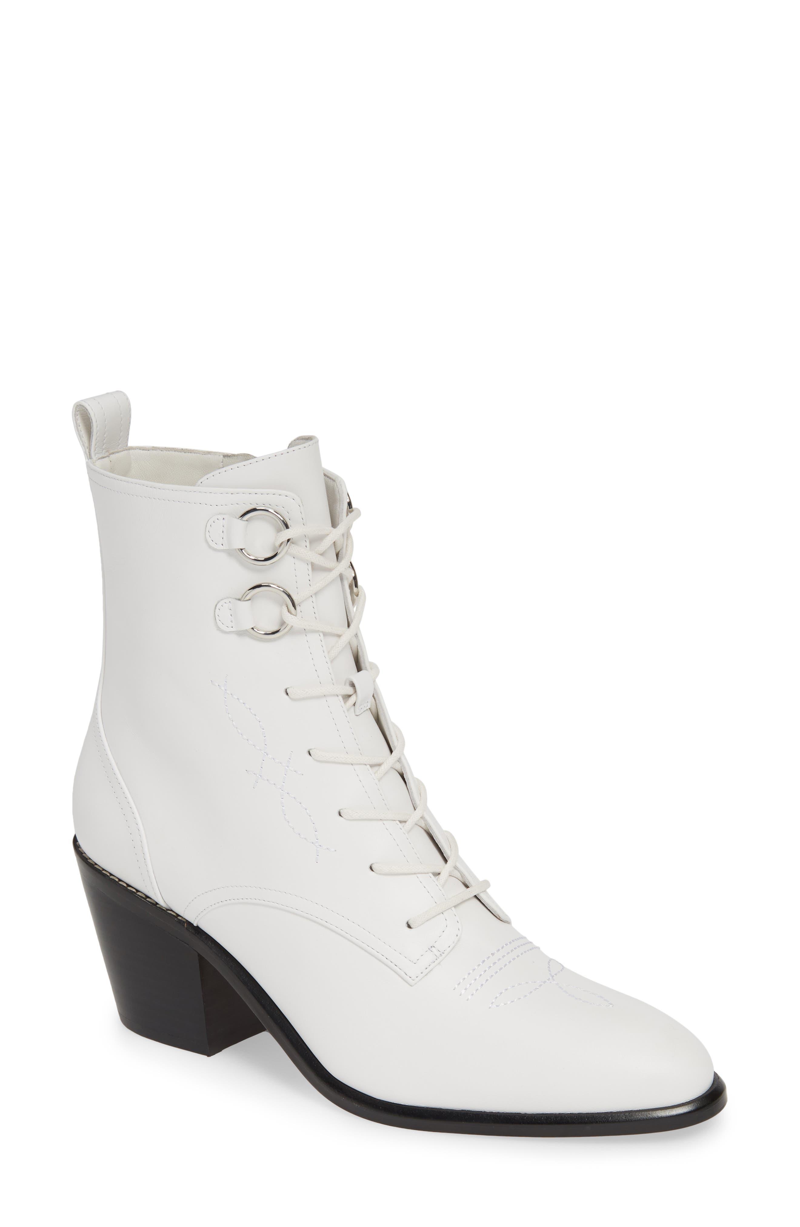 Diane Von Furstenberg Dakota Lace-Up Bootie, White