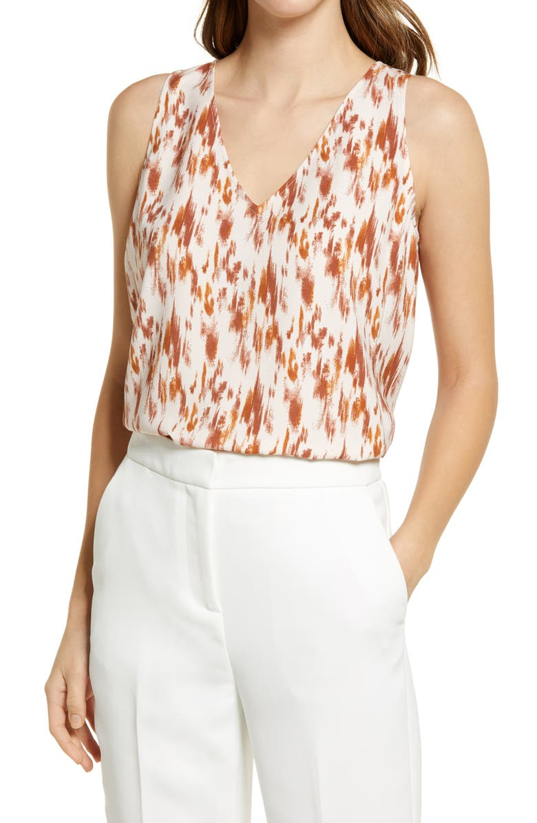 NORDSTROM V-Neck Tank Top, Main, color, PINK- RUST ABSTRACT STROKES