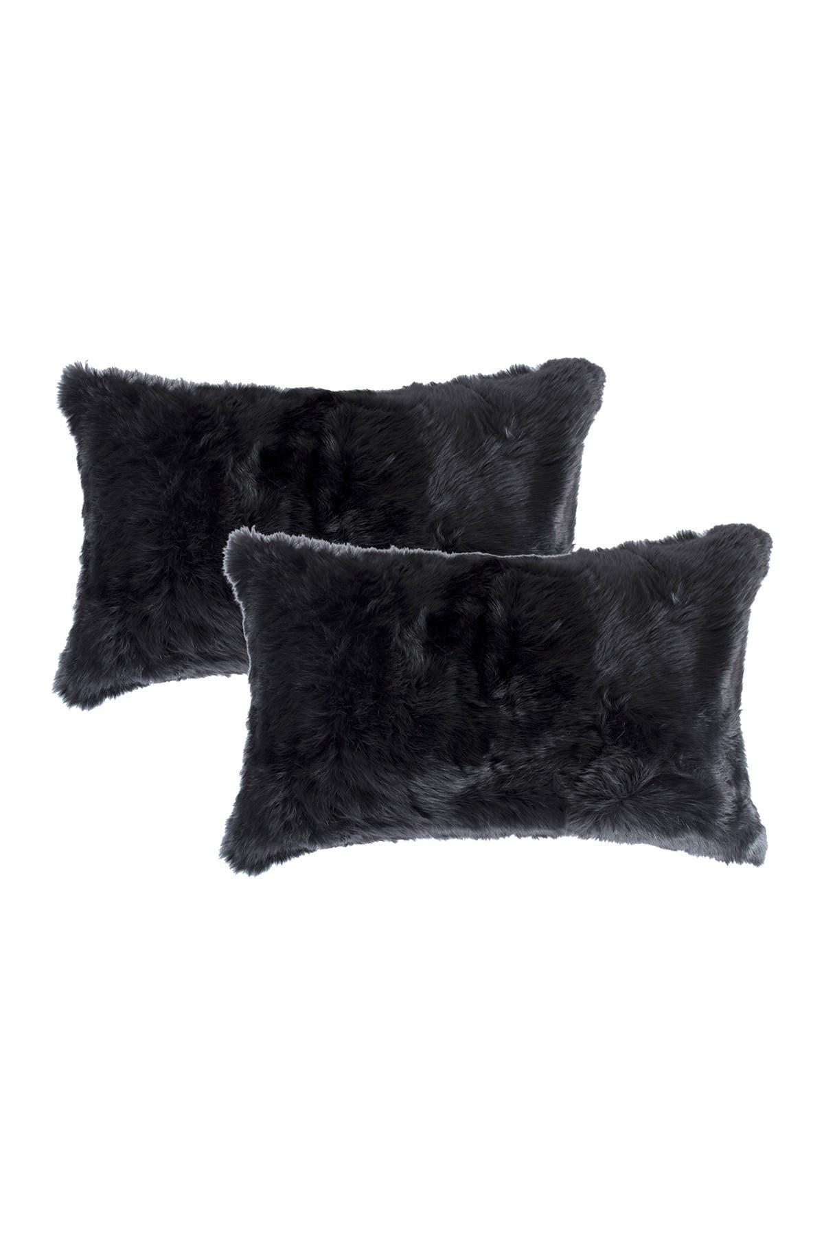 "Image of Natural Genuine Rabbit Fur Pillow - Set of 2 - 12"" x 20"" - Black"