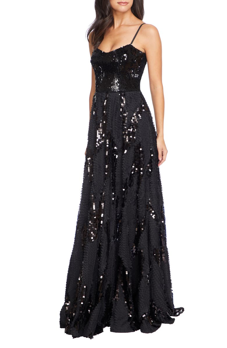 DRESS THE POPULATION Marianna Paillette Evening Gown, Main, color, BLACK