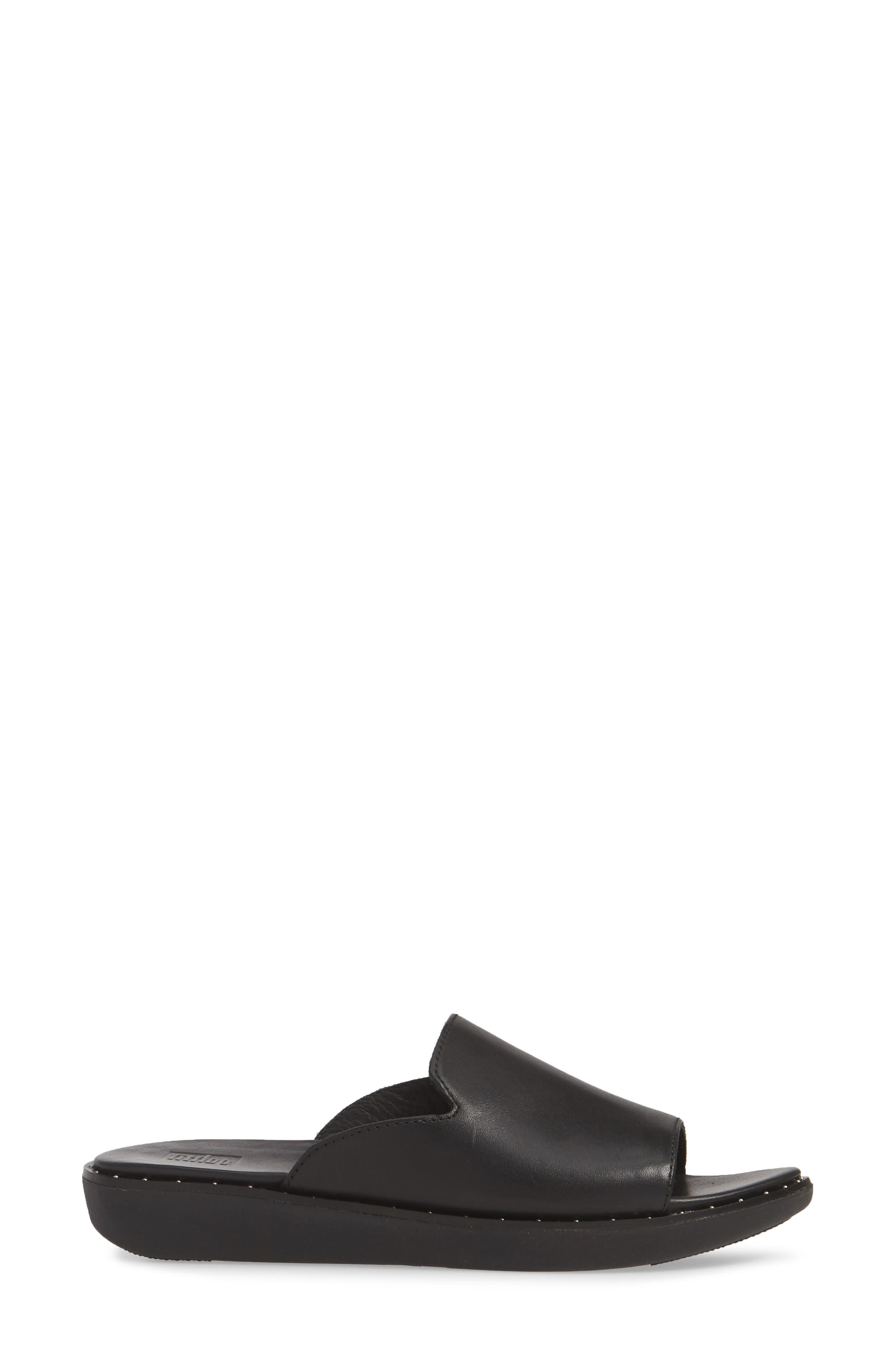 ,                             Saffi Slide Sandal,                             Alternate thumbnail 3, color,                             BLACK LEATHER