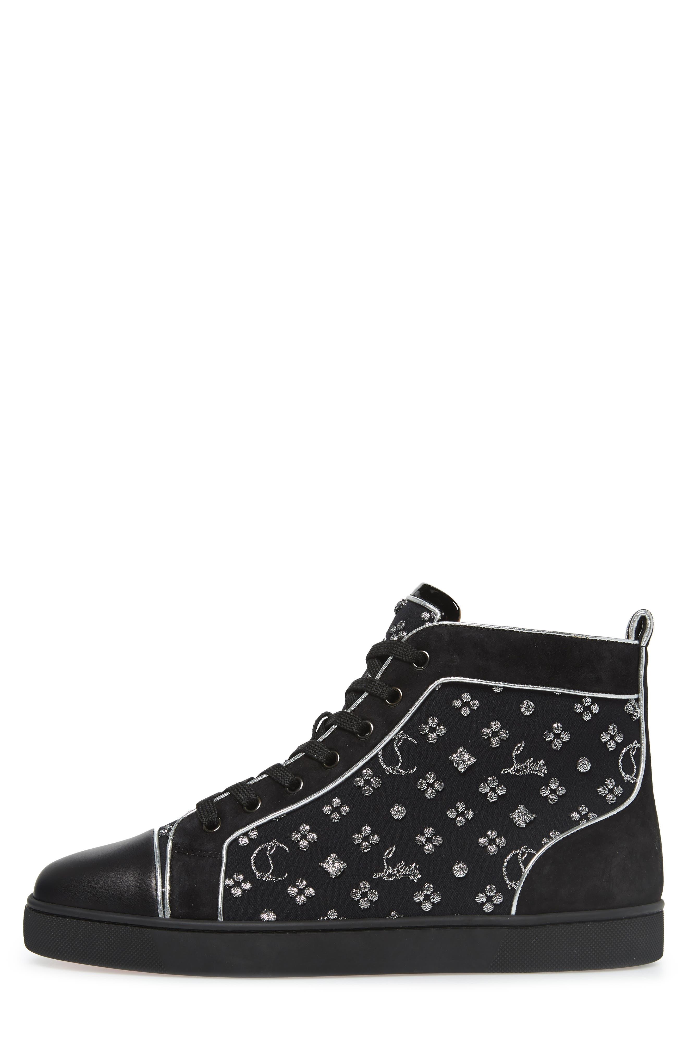 ,                             Louis Orlato High Top Sneaker,                             Alternate thumbnail 3, color,                             BLACK/SILVER