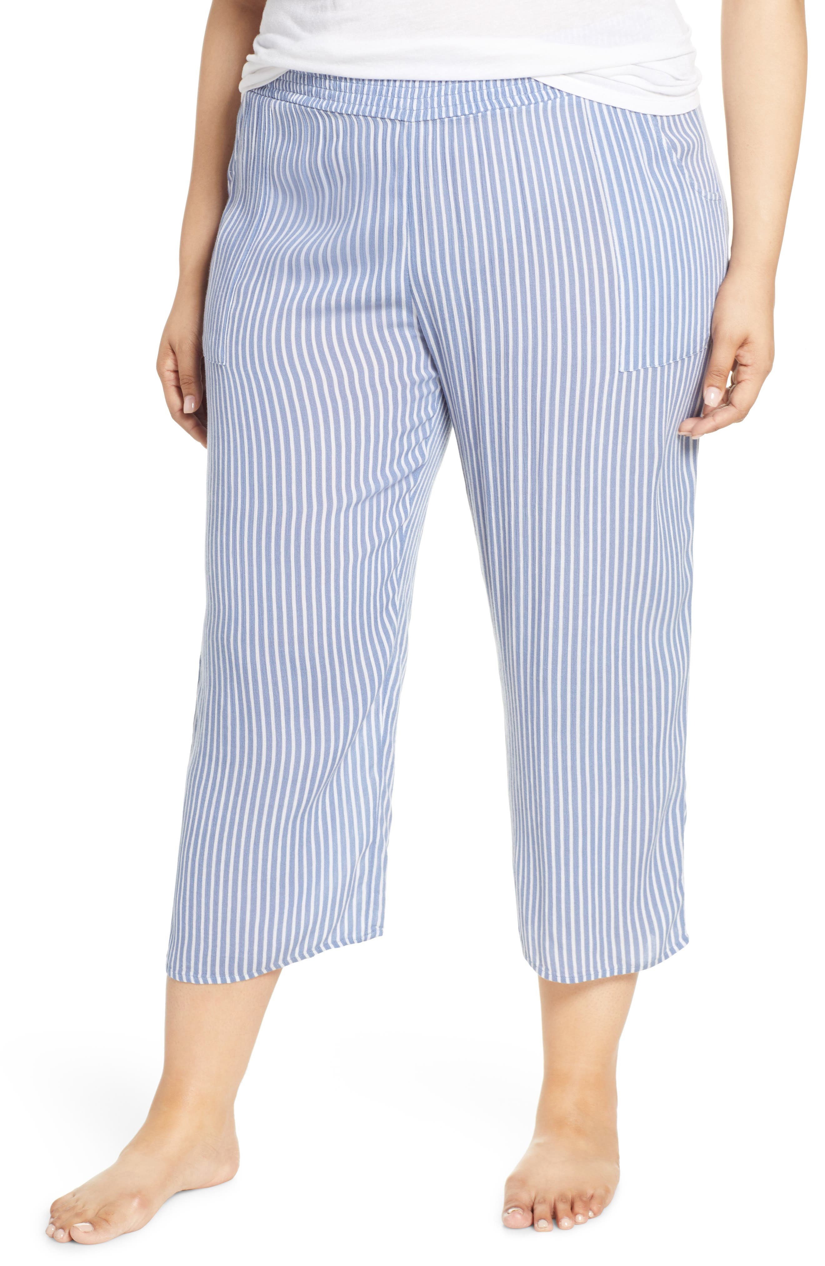 Plus Size Make + Model Crinkle Crop Pajama Pants, Blue
