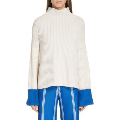 Tory Sport Contrast Cuff Rib Merino Wool Sweater, White