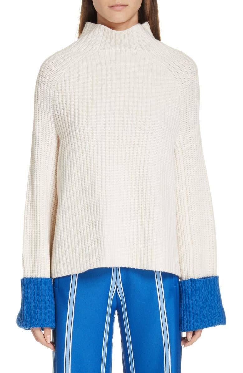 TORY SPORT Contrast Cuff Rib Merino Wool Sweater, Main, color, SNOW WHITE/ SURF BLUE