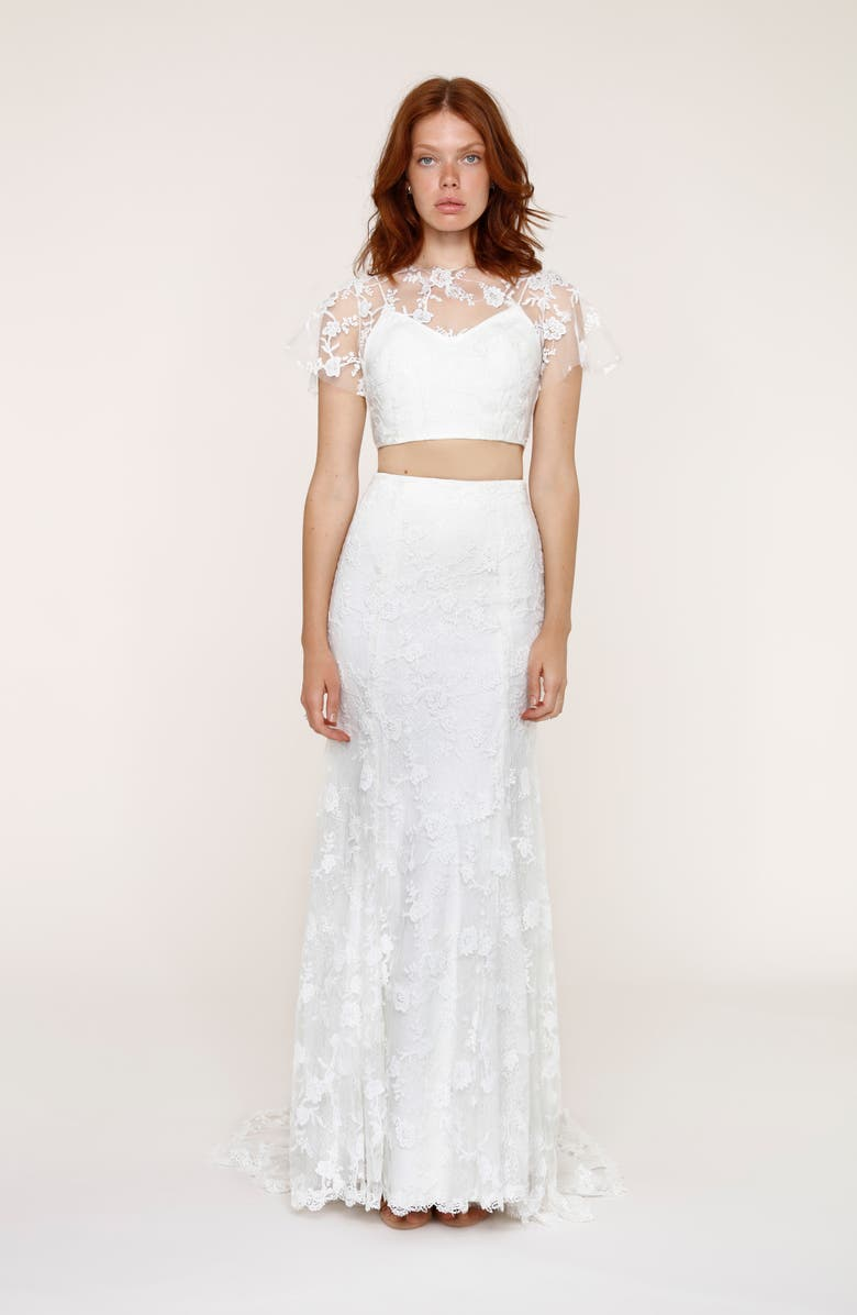 HEARTLOOM Maddie Lace Two-Piece Mermaid Gown, Main, color, 101