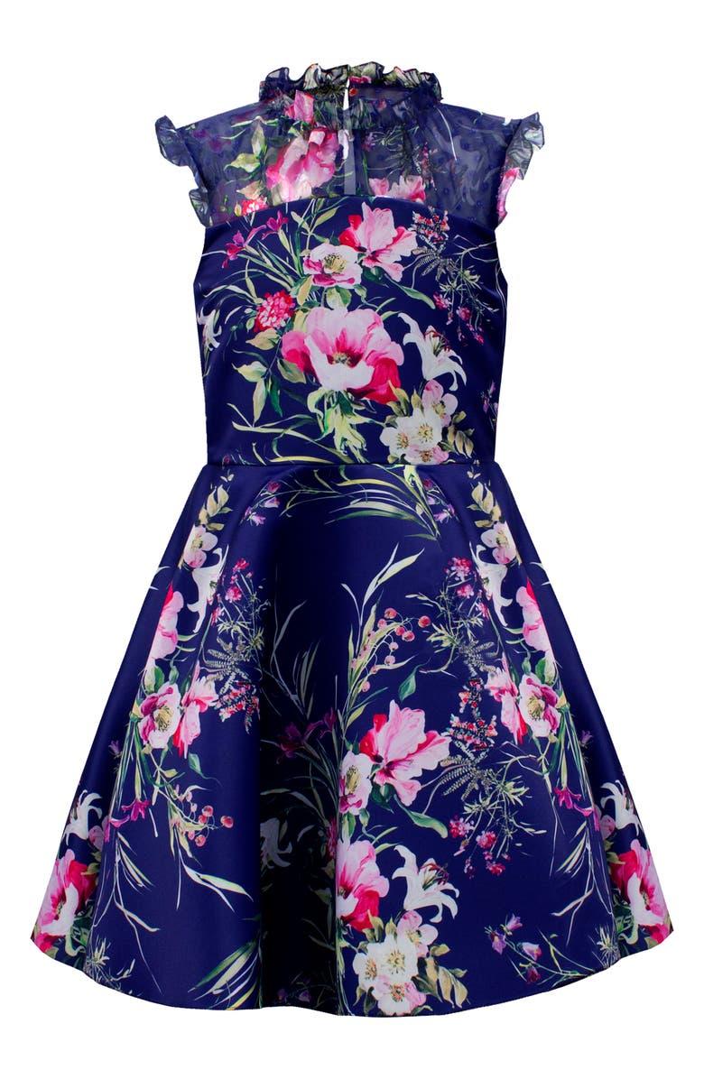 DAVID CHARLES Satin & Chiffon Floral Fit & Flare Dress, Main, color, 400
