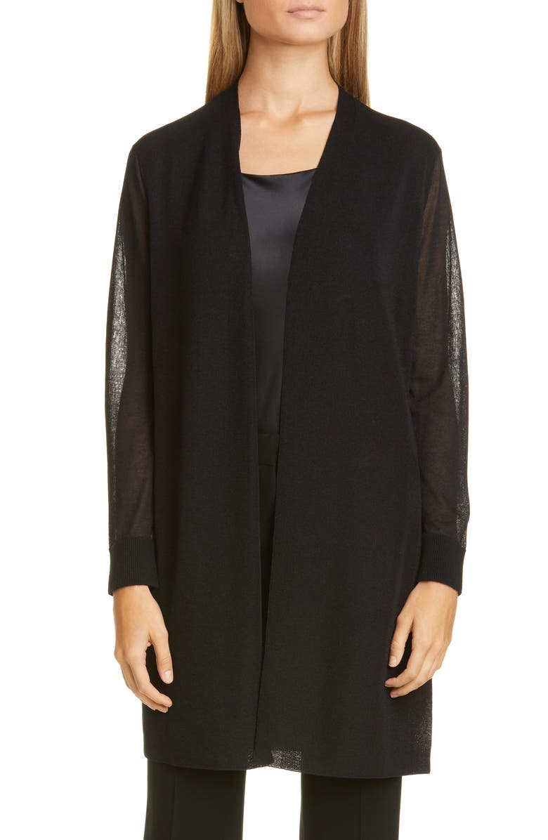 LAFAYETTE 148 NEW YORK Sheer Open Front Cardigan, Main, color, BLACK