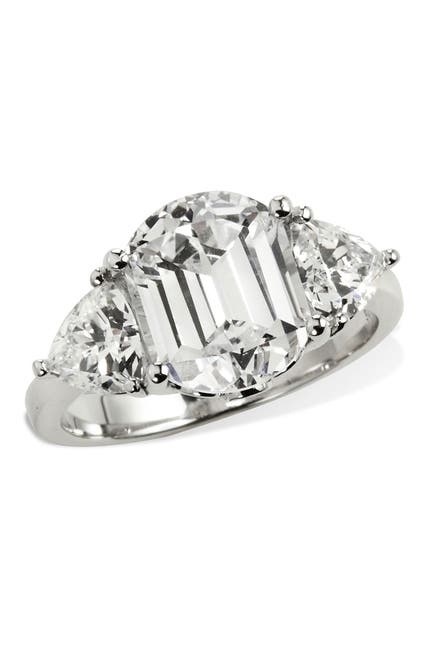 Image of Savvy Cie Platinum Plated Tycoon Cut 3 Stone Ring With Trillion Sides - 0.20 ctw