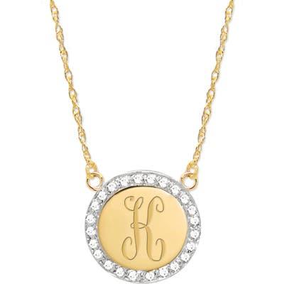 Jane Basch Designs Diamond Halo Initial Pendant Necklace